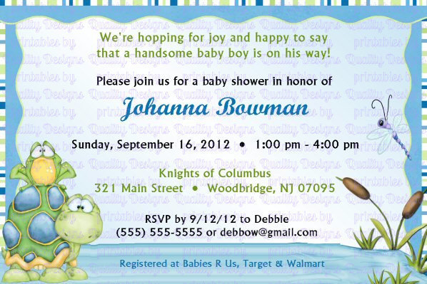Baby Shower Printable Invitation, Frog, Turtle, Dragon Fly, DIY