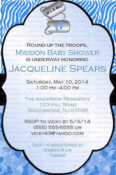 Baby Shower Printable Invitation, Military, Little Trooper, Dog Tags,  DIY