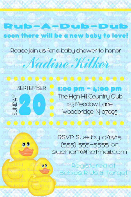 Baby Shower Printable Invitation, Rubber Ducky, Duck, Bubbles, DIY