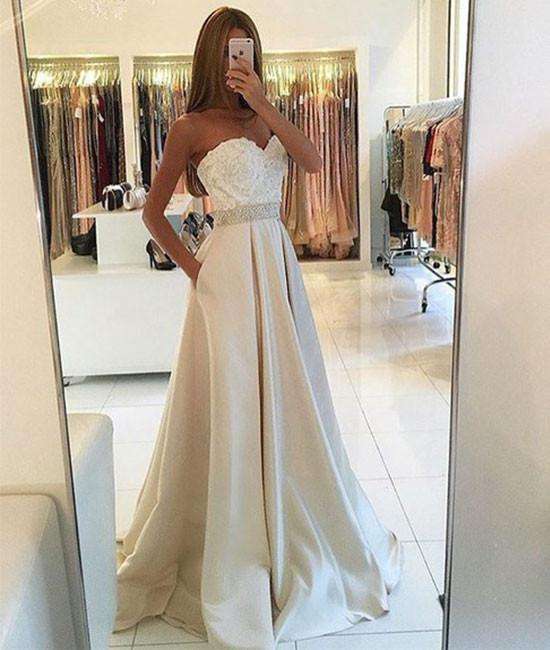 Light champagne lace long prom gown, champagne evening dress