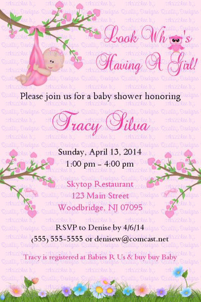 Baby Shower Printable Invitation, Tree, Owl, Swing, DIY