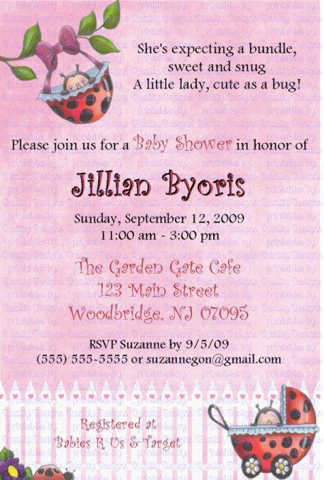 Baby Shower Printable Invitation, Lady Bug, Swing, Carriage, DIY