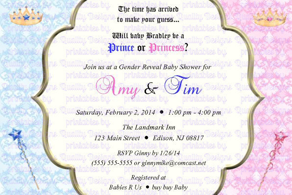 photo about Baby Shower Printable Invitations named Kid Shower Printable Invitation, Gender Demonstrate, Prince, Princess, Do-it-yourself