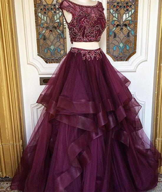 Two pieces burgundy sequin tulle prom dress, long burgundy evening dress