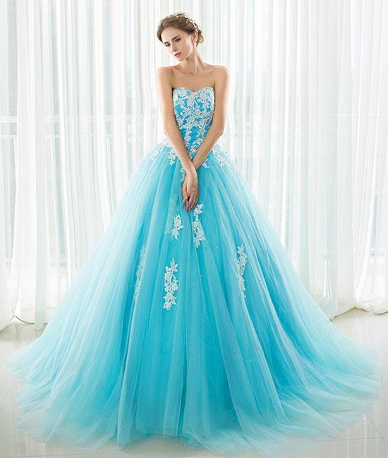 Blue sweetheart neck lace applique tulle long prom dress
