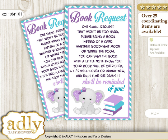Peanut Elephant Book Request Purple, Gray and Teal Babygirl
