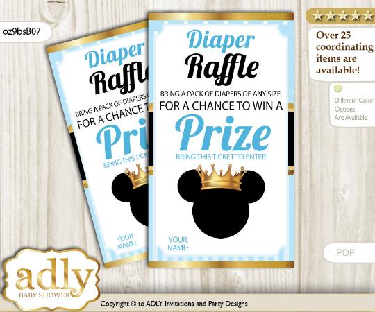 Royal Prince Mickey Diaper Raffle Light Blue Babyboy