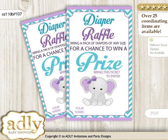Peanut Elephant Diaper Raffle Purple and Teal Chevron Boarder Babygirl