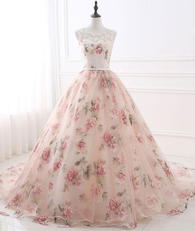 Unique round neck tulle long prom gown, unique evening dress