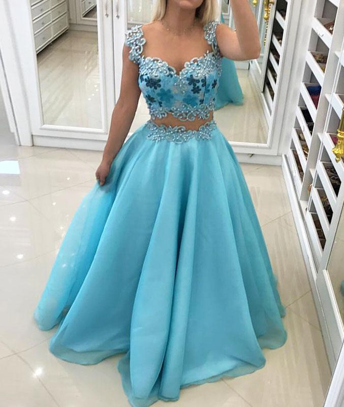 Blue sweetheart two pieces long prom dress, blue evening dress