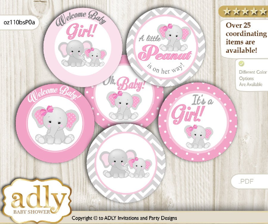 Peanut Elephant Cupcake Toppers Pink and Gray Babygirl