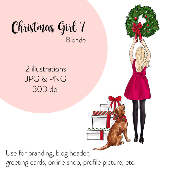 Watercolour fashion illustration - Christmas Girl 7 - Blonde