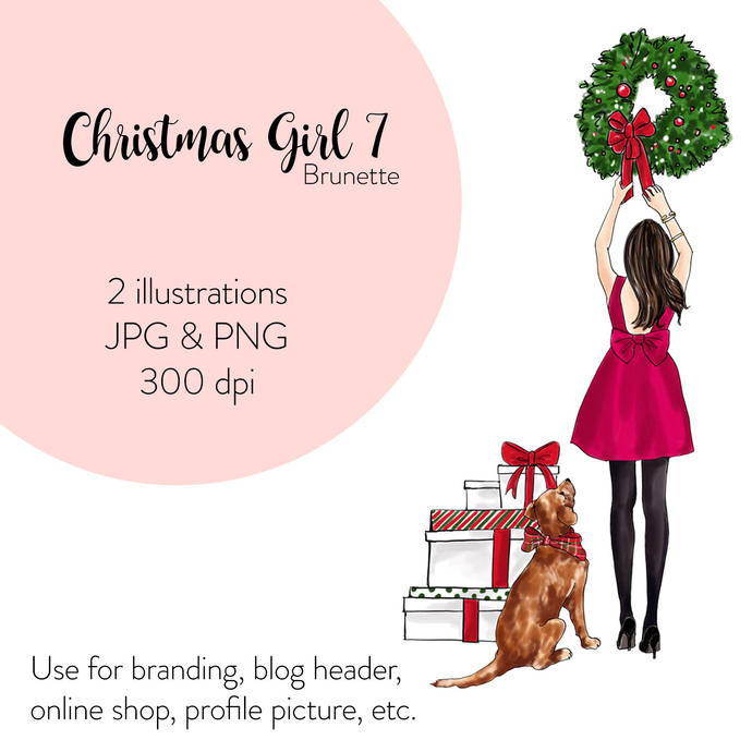 Watercolor Fashion Illustration - Christmas Girl 7 - Brunette