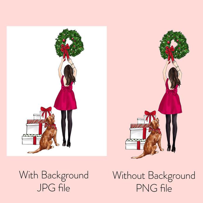Watercolor Fashion Illustration - Christmas Girl 7 - Brunette