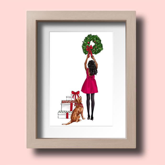 Watercolor fashion illustration - Christmas Girl 7 - Dark Skin