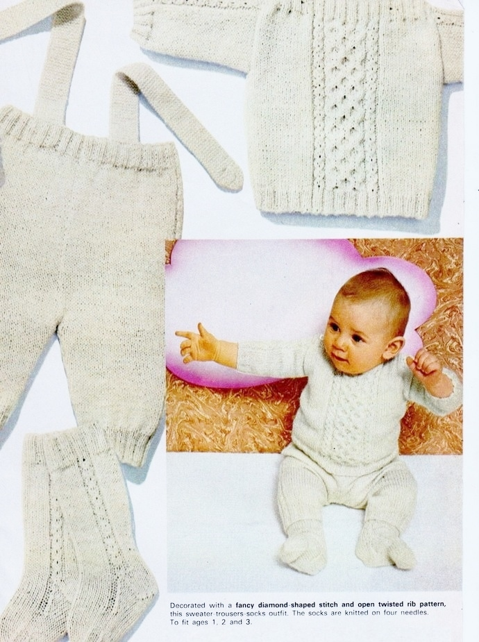 Instant Digital Download PDF Vintage Row by Row Knitting Pattern Aran Inspired