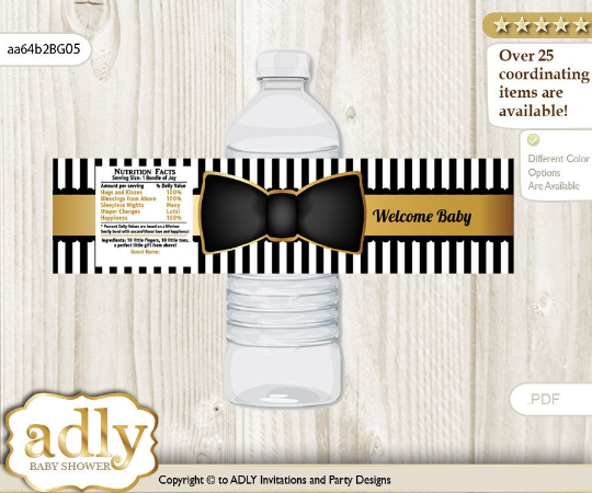 Bow Tie Water Bottle Wrapper Black and Gold Babyboy