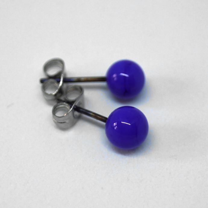 Tiny Ball Ear Stud, Cobalt Blue