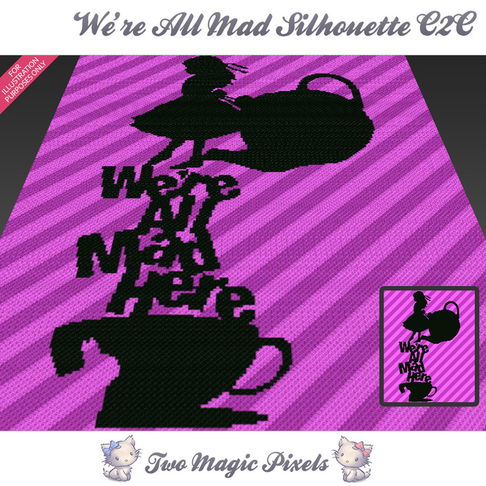 [C2C] We're All Mad Silhouette crochet blanket pattern; cross stitch graph; pdf