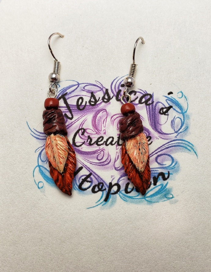Polymer clay double feather earrings orange and peach