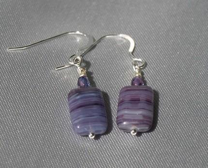 Purple Czech Glass Earrings 9012
