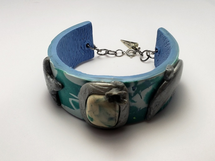 Nautical abstract polymer clay bracelet
