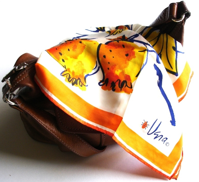 Vera Scarf With Fruit And Floral Design In Yellow Orange White And Blue