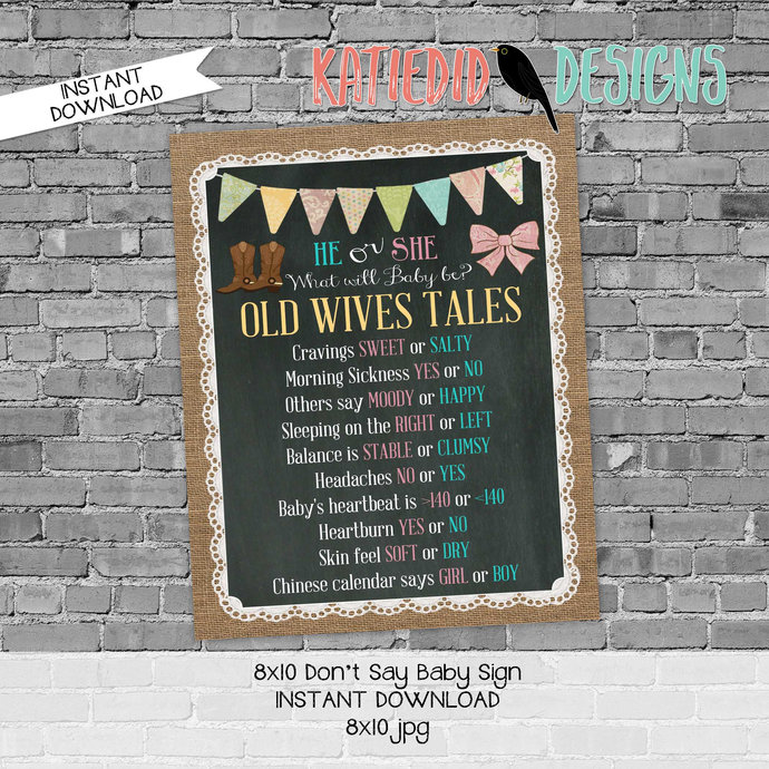 Old wives tales sign boots or bows gender reveal invitation couples baby shower