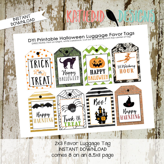 Halloween printable favor tags luggage witch black cat spider web jack-o-latern