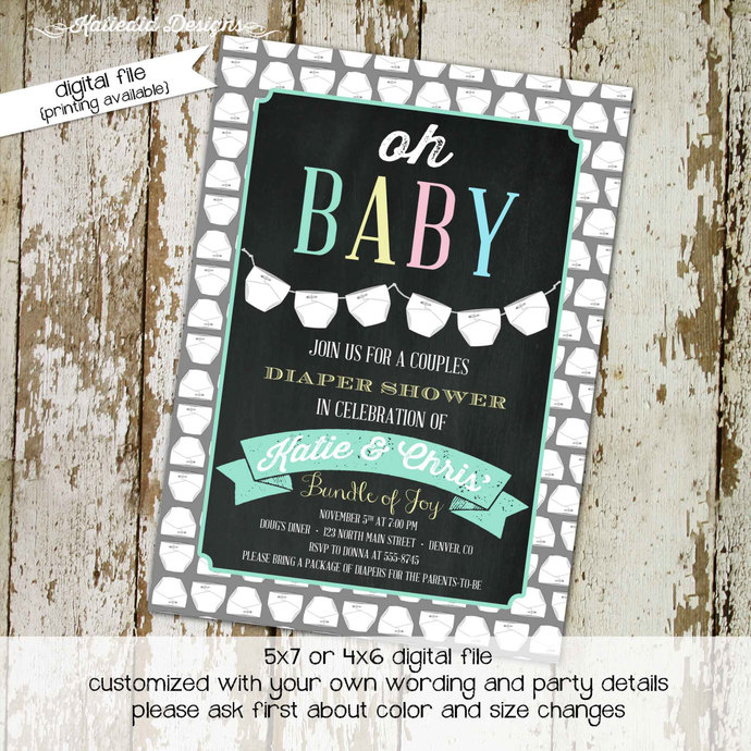 Gender reveal invitation couples baby shower coed twins diaper wipes neutral