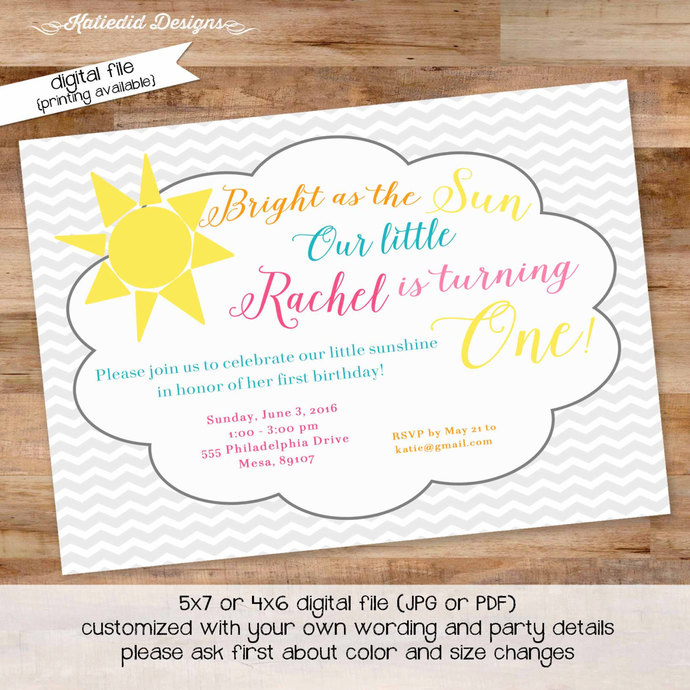 You Are My Sunshine Birthday Invitation By Katiedid Designs On Zibbet