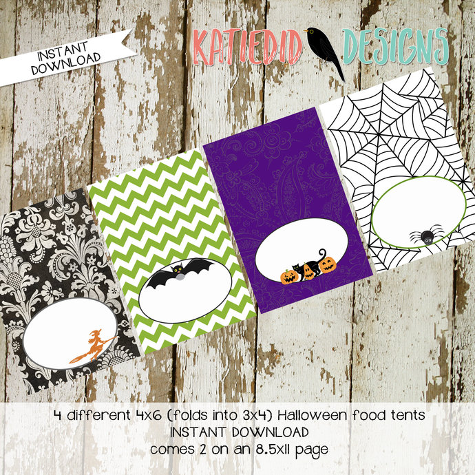 Halloween printable food tent party decorations label witch black cat spiderweb