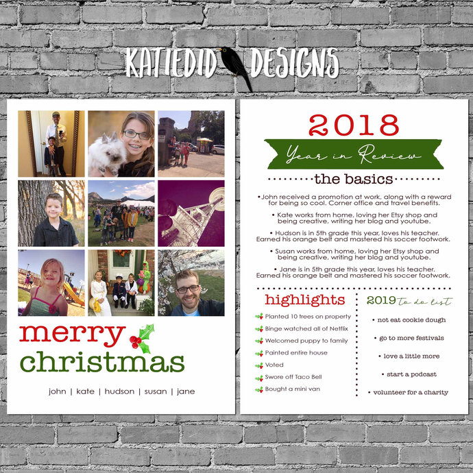 Year In Review Christmas Card With Photos By Katiedid Designs On