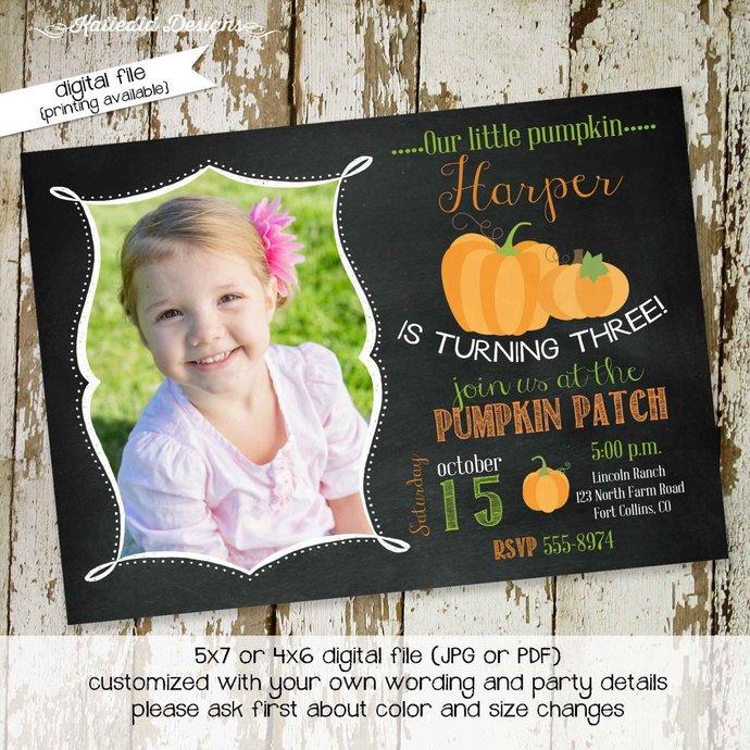fall baby shower invitation Pumpkin halloween autumn patch hayride birthday