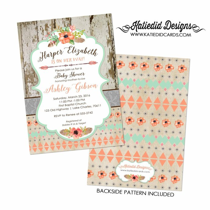 Tribal baby shower invitation couples Boho mint coral diaper wipes gender reveal