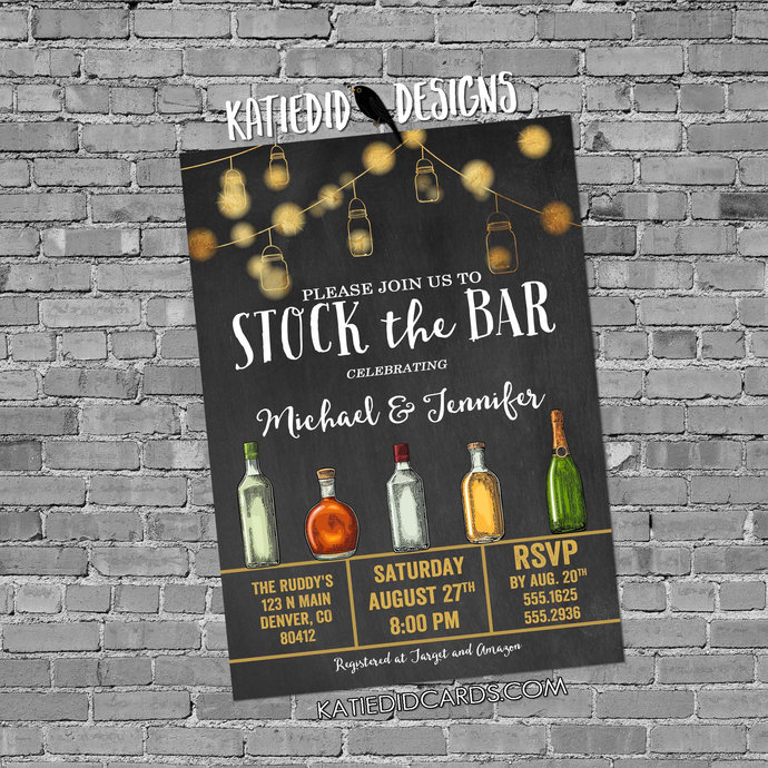 stock the bar rehearsal dinner invitation Couples Shower bridal bottle string