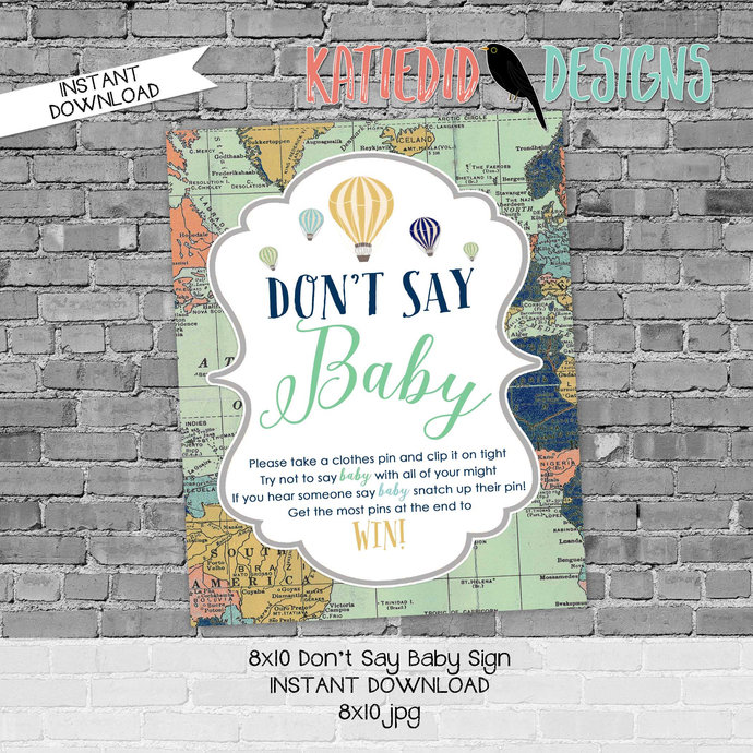 hot air balloon travel theme Adventure awaits baby shower game don't say baby