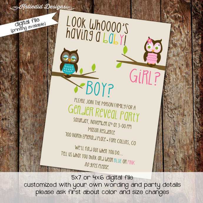 Gender Reveal Invitation Owl Baby Shower Diaper Wipes Brunch Couples Coed Pink Or Blue He She Twins Sprinkle Neutral