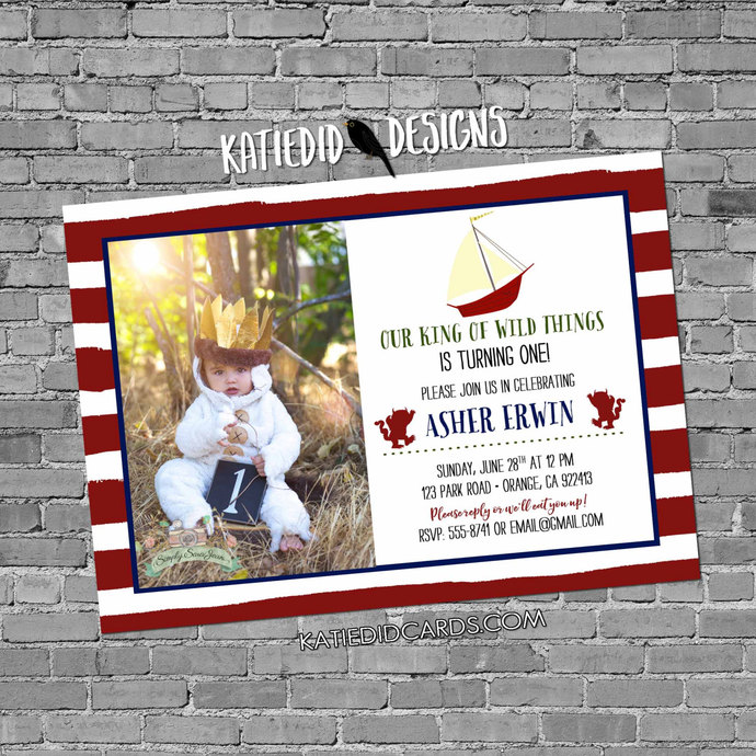 wild one two where things are birthday invitation rumpus picture photo baby