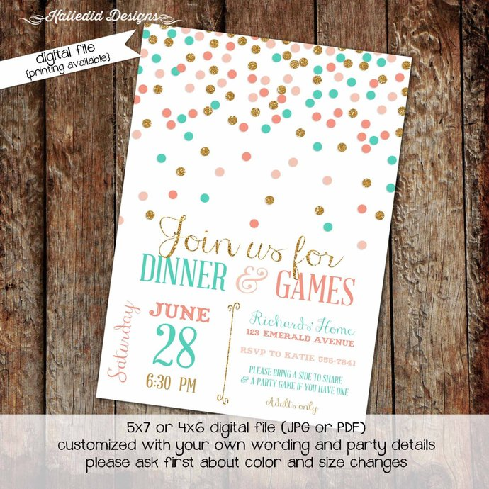 Couples shower Invitation bridal baby coed confetti girl 1st birthday brunch