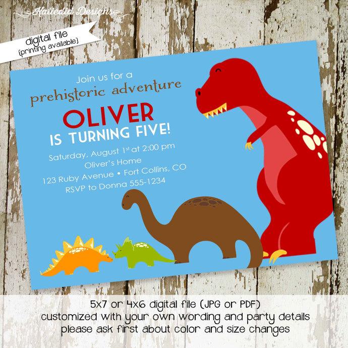 Dinosaur Birthday Invitation Boy Baby By Katiedid Designs On Zibbet