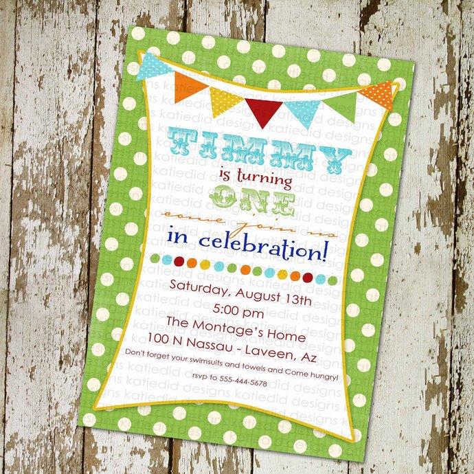 circus birthday invitation little boy birthday invitation bunting banner lime