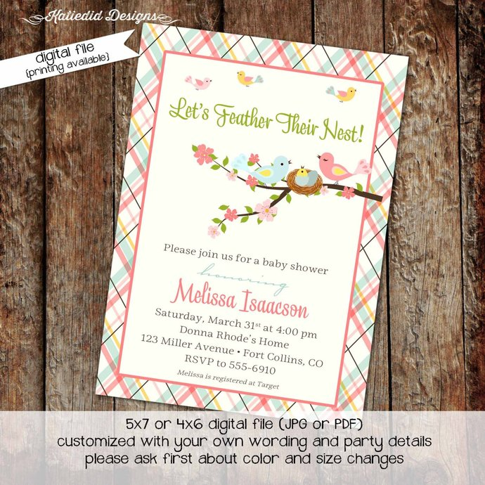 Bird nest couples baby shower invitation girl gender reveal neutral coed plaid