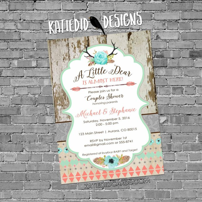 woodland baby shower invitation couples girl boho chic tribal rustic little deer
