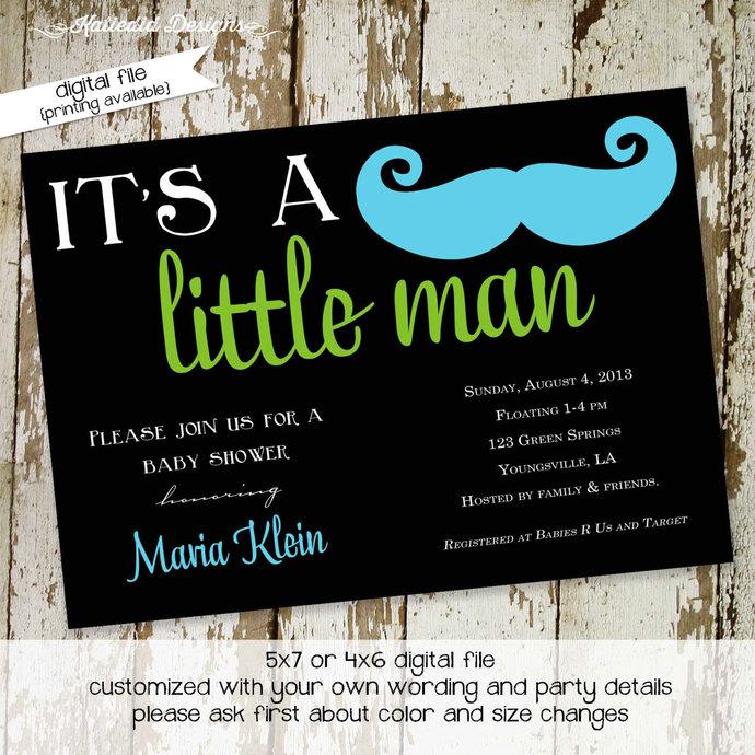 Mustache baby boy shower invitation Little man Gentleman oh couples coed