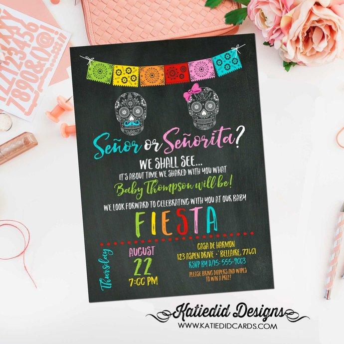 Fiesta gender reveal invitation baby shower cinco de mayo senor senorita sugar