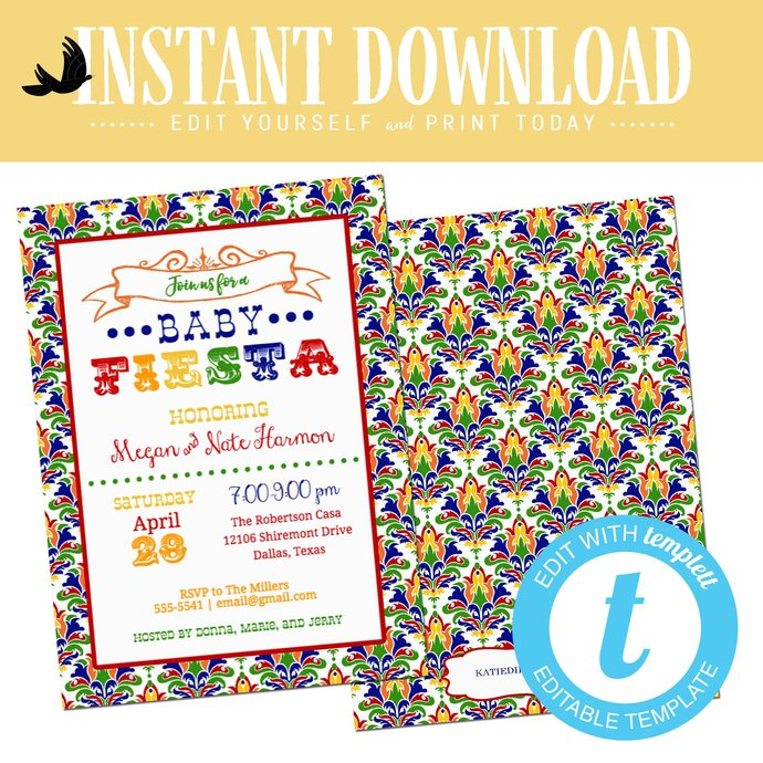 Fiesta invitation gender reveal baby shower neutral couples coed I do BBQ