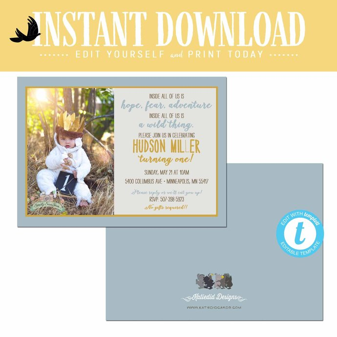 wild one two where the thing are birthday invitation couples baby shower coed
