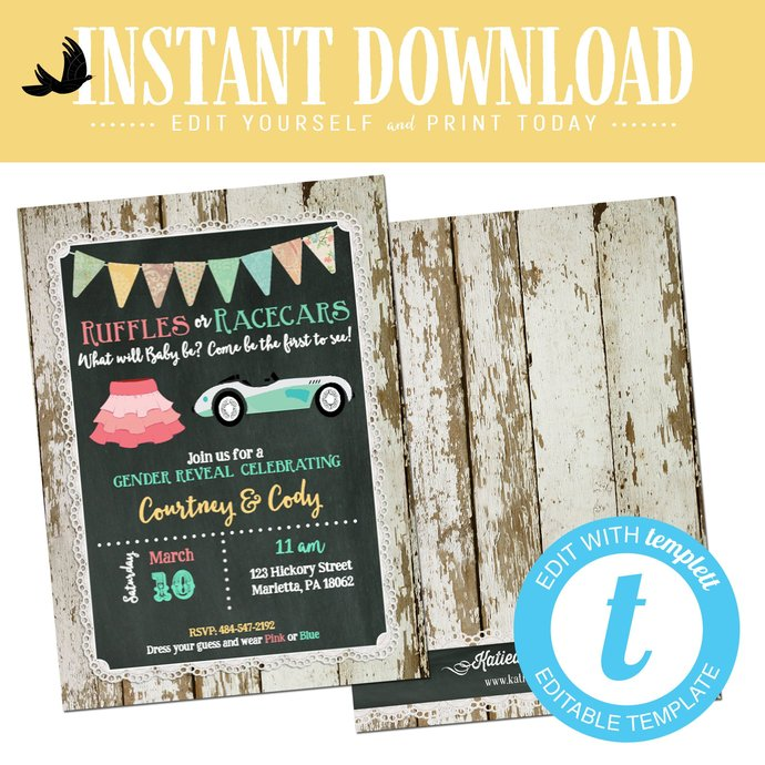twin Gender reveal invitation ruffles racecars lace couples baby shower neutral