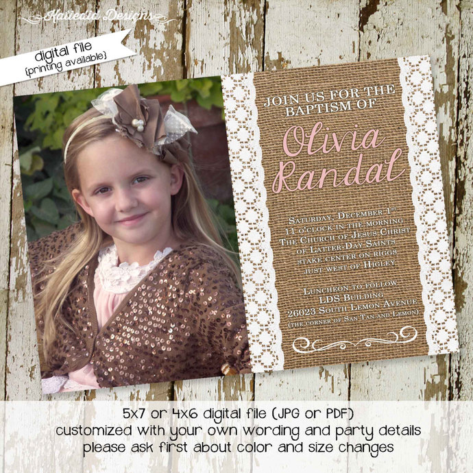 baptism invitation LDS girls christening baby blessing mormon burlap lace photo